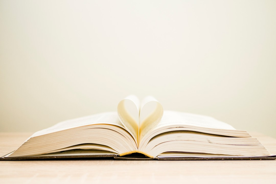book pages, heart picture